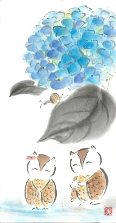 ふくろう・紫陽花
